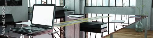 canvas print picture Panorama vom Büro mit Glastisch und Computer