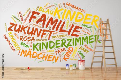 Leinwandbild Motiv Konzept zu Familie und Kinder an der Wand