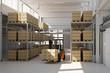 Lagerhalle von Fabrik mit Gabelstapler und Kartons