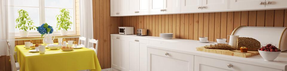 Panorama einer Küche mit Holz und Frühstückstisch