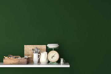 Regal mit Waage und Besteck in der Küche