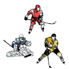 ice hockey players vector illustrations
