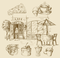 hand drawn cafe