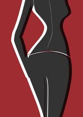 Silhouette d'un corps de femme vu de dos