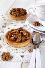 Traditional French dessert: Walnut caramel tart