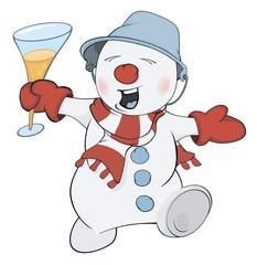 Christmas Snowman. Cartoon