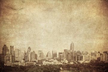 grunge image of bangkok skyline