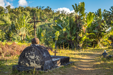The cemetery of past pirates at St. Mary Island, Madagscar