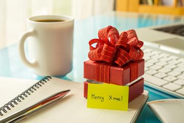 Christmas gift box with greeting message for holiday season