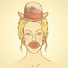 Sketch cute woman with hat and mustache