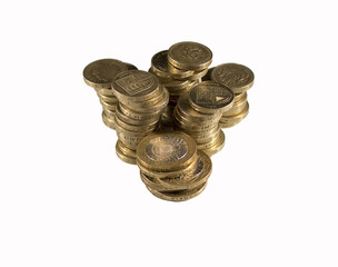 One pound coins group isolated