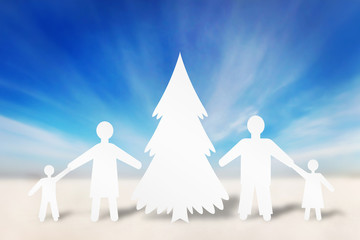 Happy strong family in winter holidays. Concept made of paper ch
