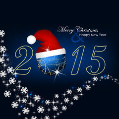 Christmas and New Year vector background with christmas hat