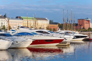 Yachts and pleasure boats moored in Helsinki, Finland