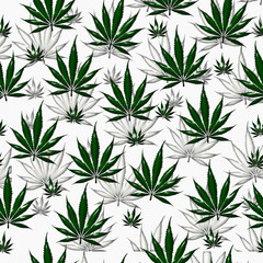 Green Marijuana Leaf Pattern Repeat Background