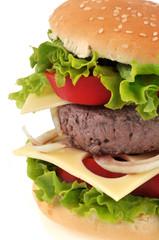 Gros plan sur un hamburger