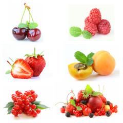 Set various berries (strawberries, raspberry, currant, cherry)