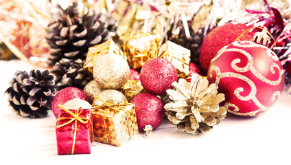Red and Golden Christmas Gifts and Glitter Globes Decoration