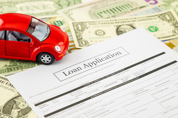 Loan application form with car and cash