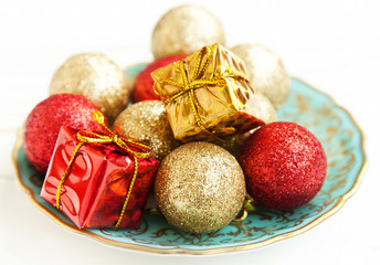 Christmas Golden and Red Globes and Gifts