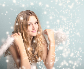 Merry Christmas: Angel with stars and snowflakes :)