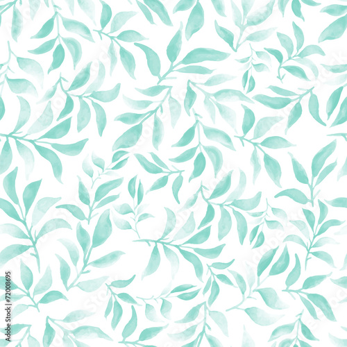 Fototapeta watercolor seamless pattern with leafs and branches