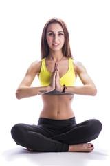 Ragazza Sorridente che pratica Yoga