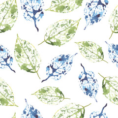 watercolor seamless pattern leaves skeleton