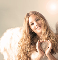 Merry Christmas: Angel with silver heart and snowflakes :)