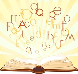 Background with open book and flying letters
