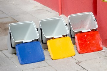 three buckets for recycling of municipal waste