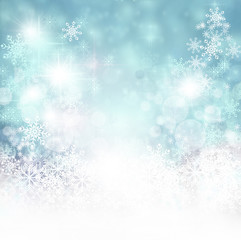 Merry Christmas: Background with stars and snowflakes
