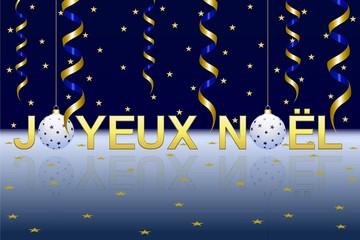 Joyeux Noël en or sur fond nuit