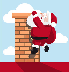 Santa hanging on the chimney