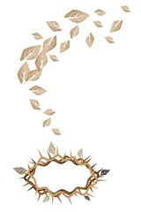 Dried Leaves Falling to A Crown of Thorns