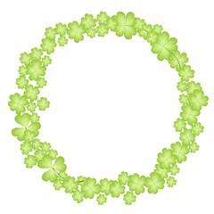 A Circle Shape Frame of Four Leaf Clover