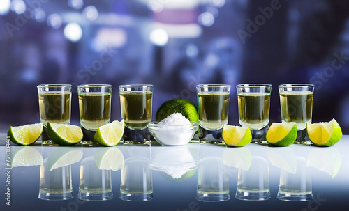 canvas print picture tequila , lime and salt