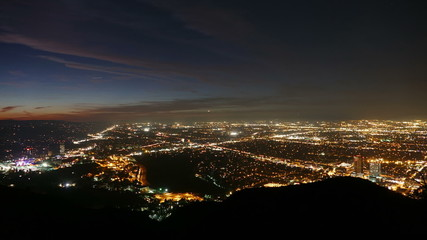 Los Angeles dusk to night valley view time lapse.