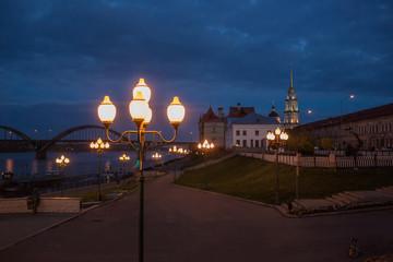 Lanterns on quay of Rybinsk