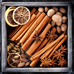 Spices for Christmas baking in wooden box