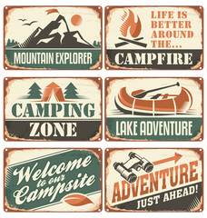 Set of vintage outdoor camp signs