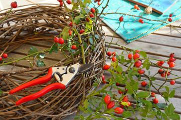 Herbstkranz mit Hagebutte basteln