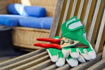Schere und Handschuh für Gartenarbeit