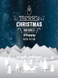 Fototapety Merry christmas message vector with cute illustrations