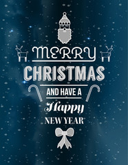 Cute christmas illustrations and message vector