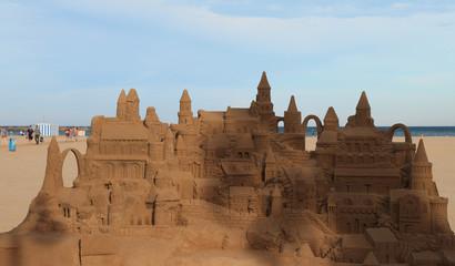 Sandy castle on beach