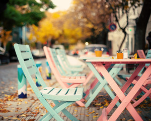 Pink and turquoise vintage outdoors cafe tables