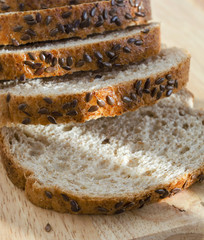 Sliced bread with oat bran and flax seeds
