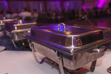 Inox chafing ready for banquet