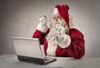 Santa typing on pc
